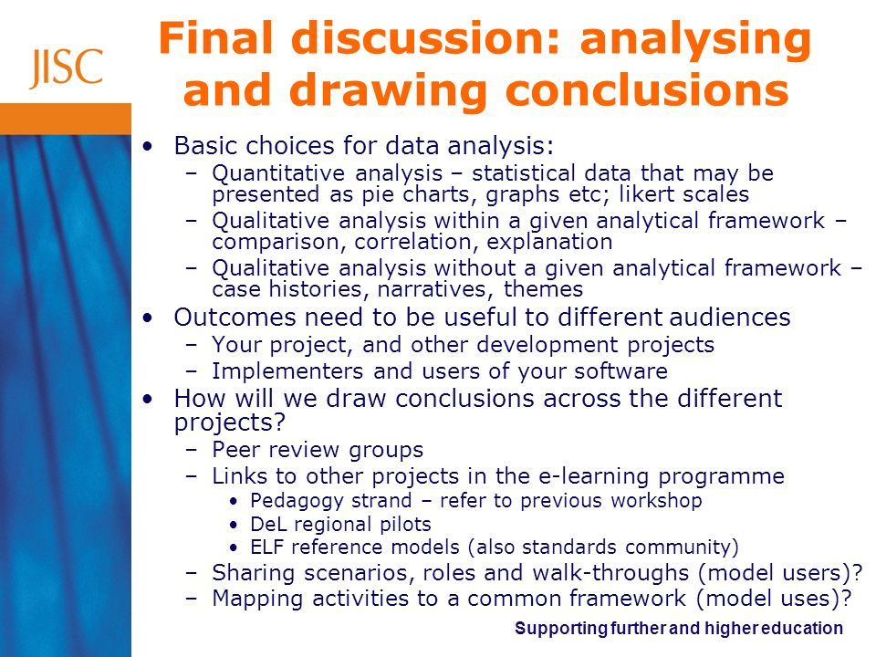 Final discussion: analysing and drawing conclusions