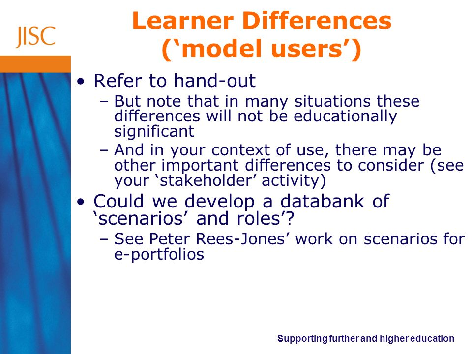Learner Differences ('model users')