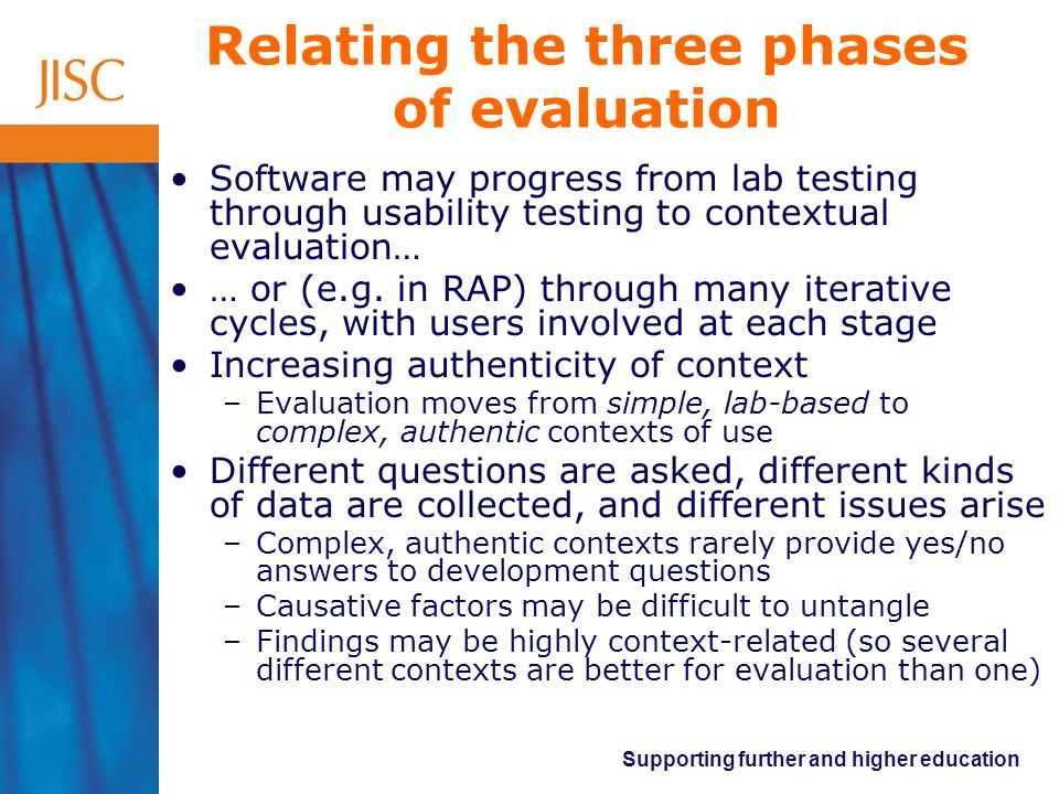 Relating the three phases of evaluation