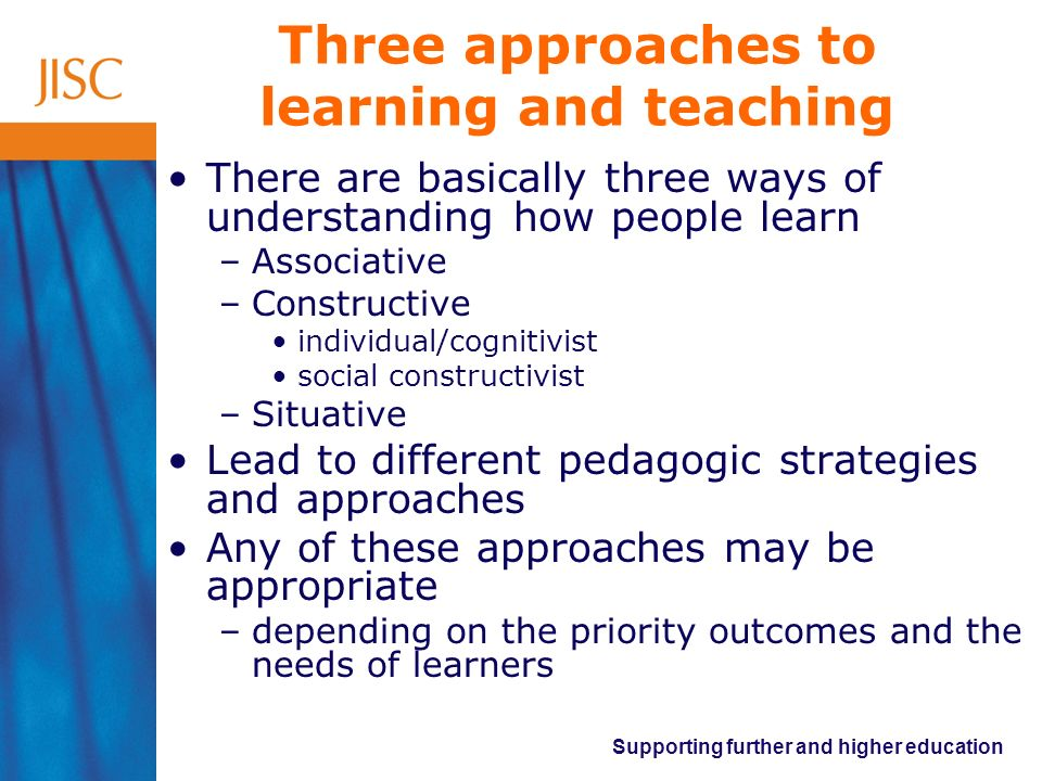 Three approaches to learning and teaching