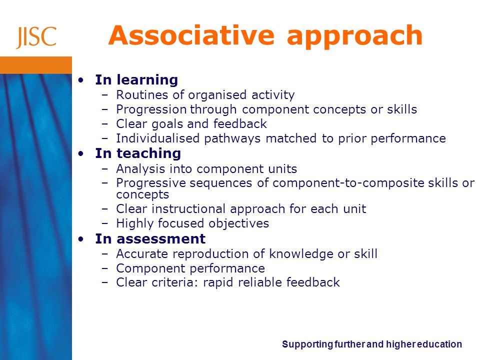 Associative approach In learning In teaching In assessment