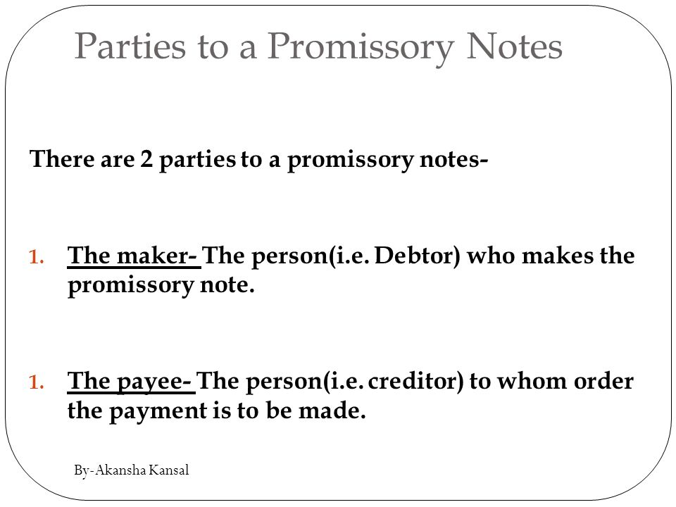 Awesome Parties To A Promissory Notes