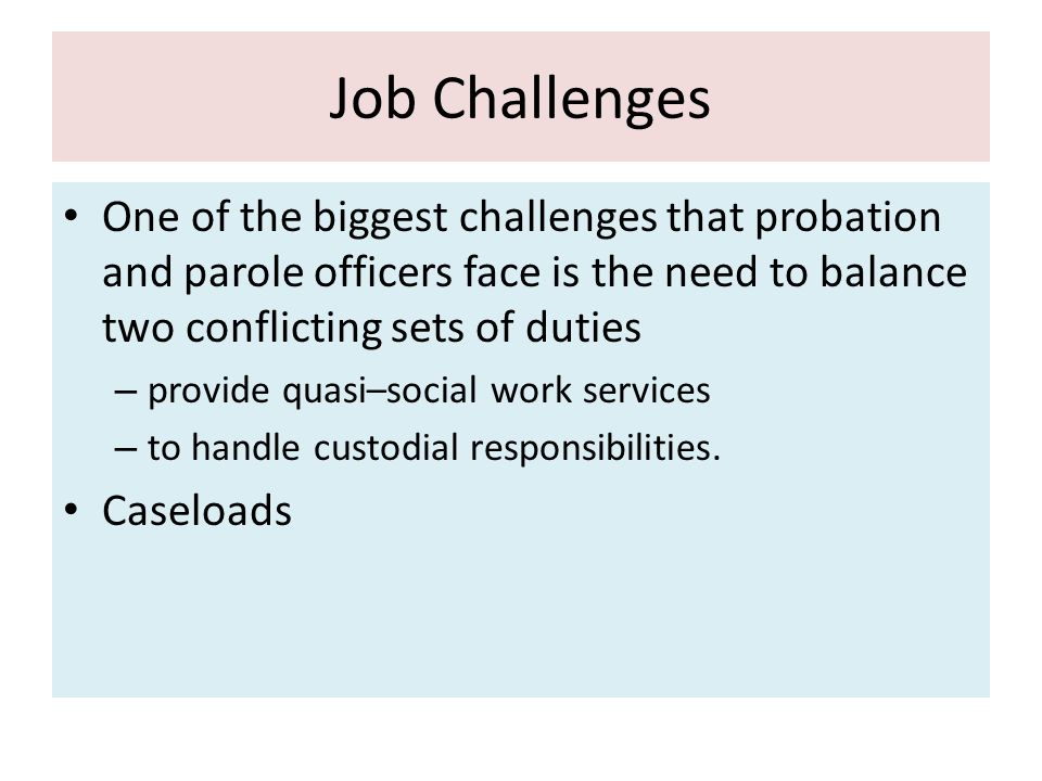 Problems and challenges facing probation