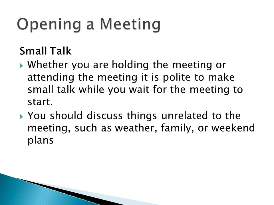 how to stop small talk in meetings