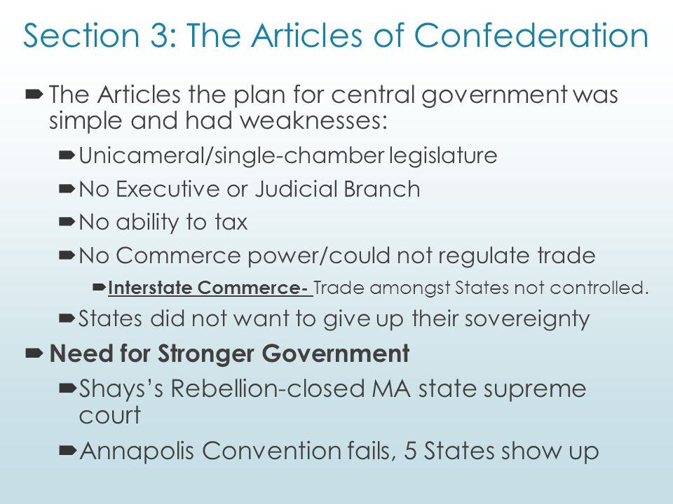 The weaknesses of the articles of confederation taxation and trade regulation