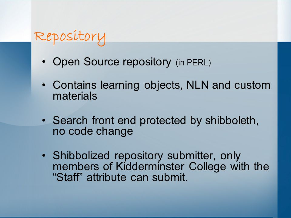 Repository Open Source repository (in PERL)