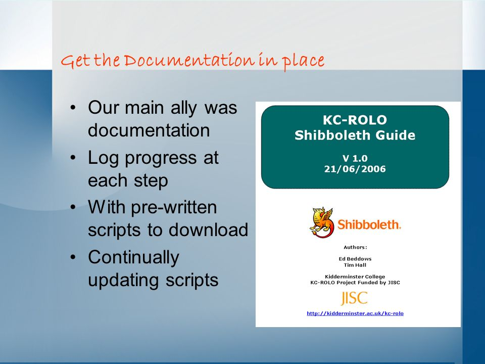 Get the Documentation in place