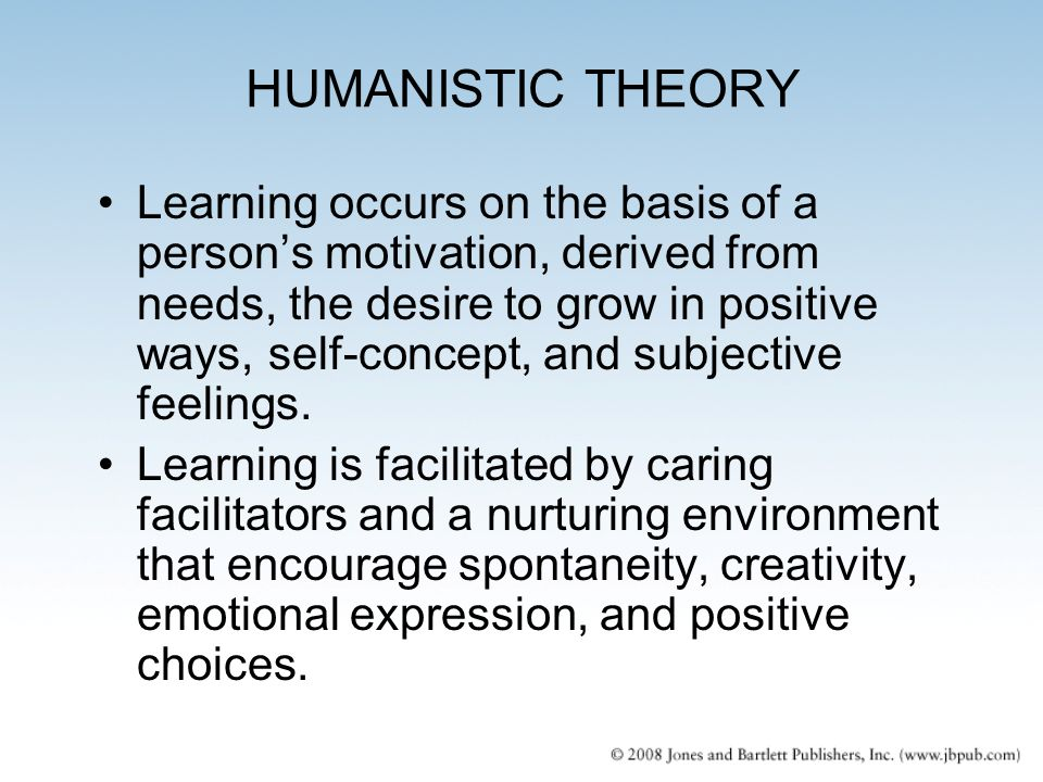 humanist theory in education A lot of research and theory is based on one or more of these grand theories: biological: focuses on the biological underpinnings of behavior and the effects of evolution and genetics the premise is that behavior and mental processes can be explained by understanding human physiology and anatomy biological psychologists focus mostly.