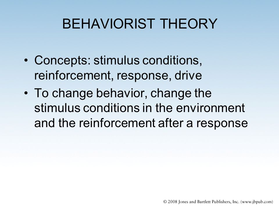 the behaviorist theory Introduction behaviorism is a philosophy of psychology, which has a profound influence on the understanding of mental and behavioral aspects of life.