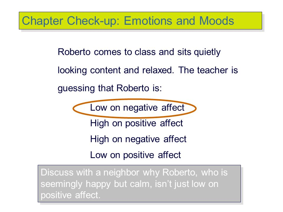 Chapter Check-up: Emotions and Moods