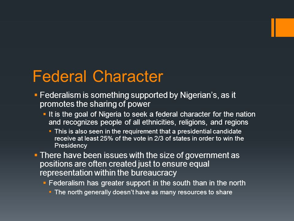 federal character principle in nigeria Get free research paper on federal character/quota system and productivity of the federal character principle federal character and federalism in nigeria.