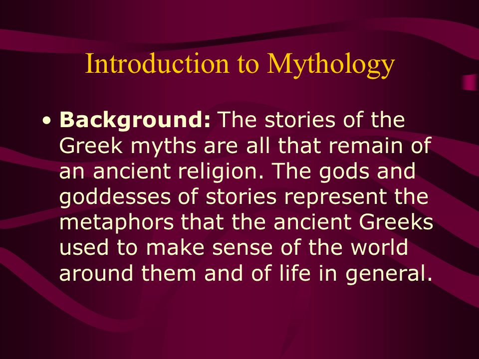 an introduction to the mythology of the christianity Many cultures create a mythology to help explain the workings of the world  parallels to christianity and other modern religions.