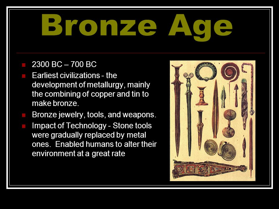 bronze age technology essay The bronze age finally gave way to the iron age around 700 bc as it was a much more abundant material and far easier to process into a usable grade of metal 800 ad gunpowder was discovered in 9 th century china where bronze was used in early firearms.