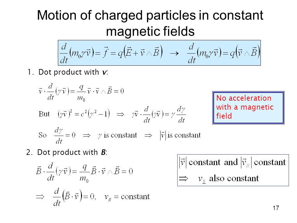 Motion of charged particles in constant magnetic fields