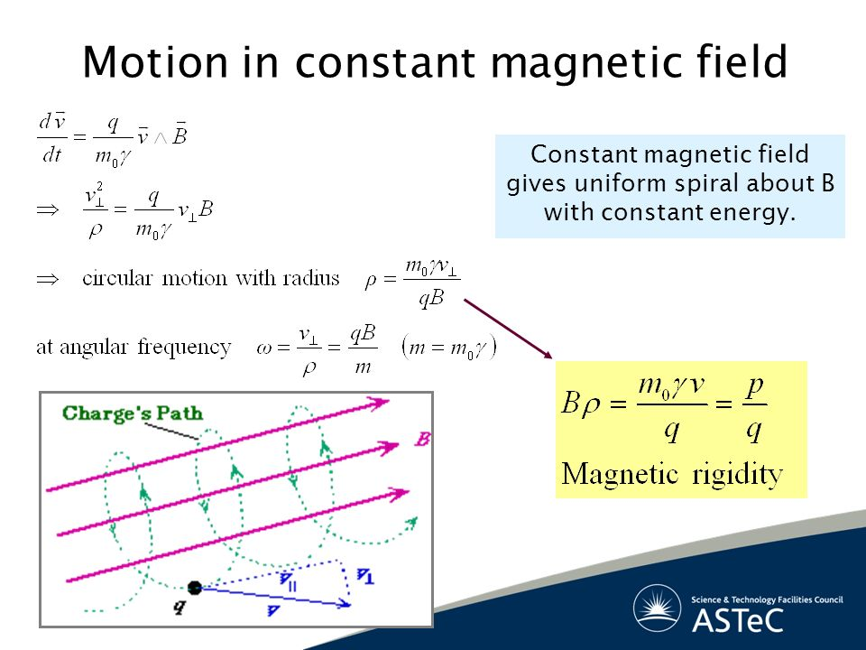 Motion in constant magnetic field