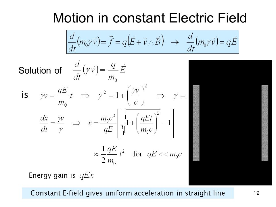 Motion in constant Electric Field