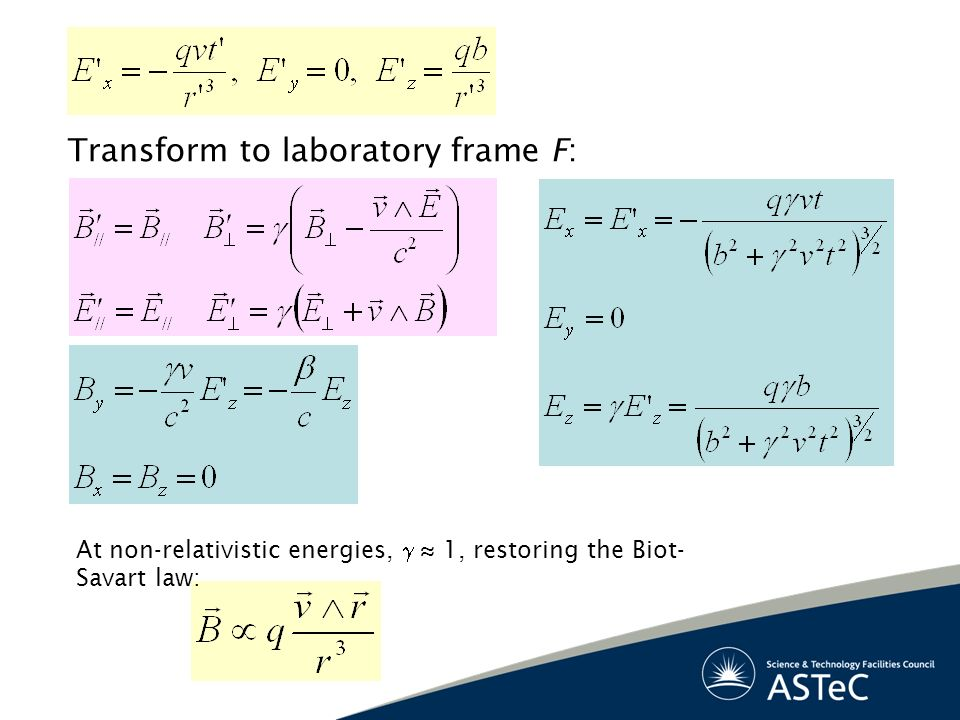 Transform to laboratory frame F: