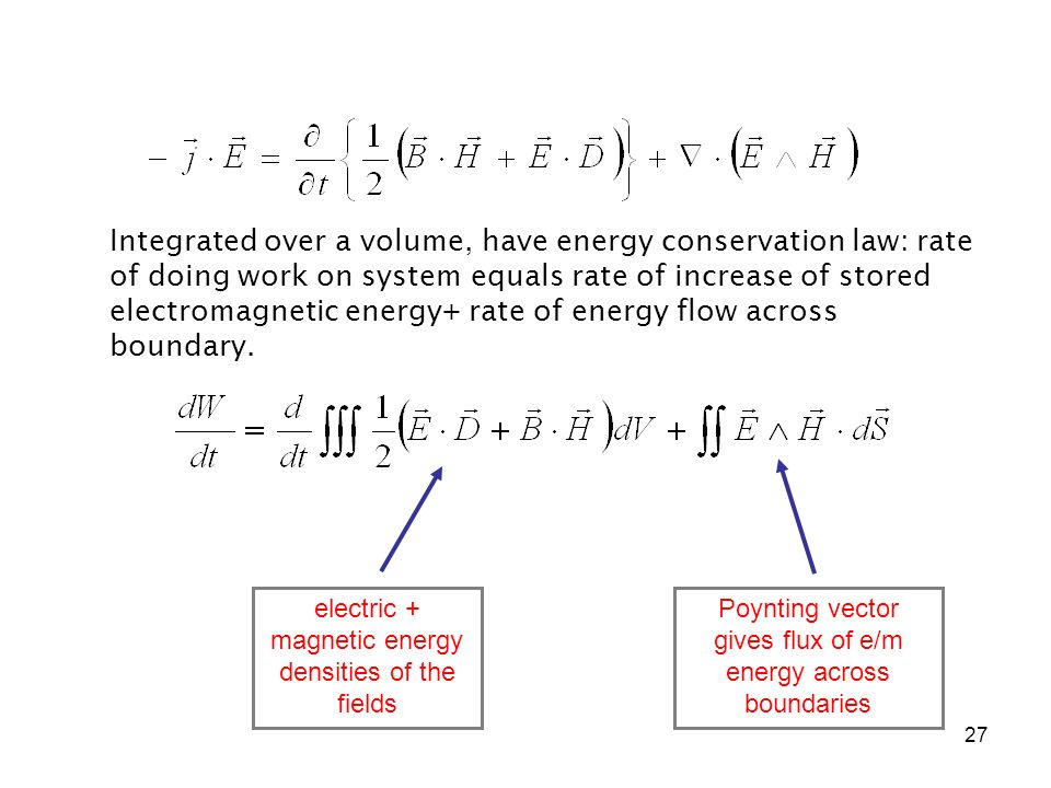 Integrated over a volume, have energy conservation law: rate of doing work on system equals rate of increase of stored electromagnetic energy+ rate of energy flow across boundary.