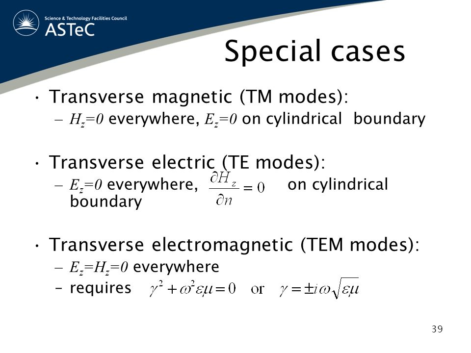 Special cases Transverse magnetic (TM modes):