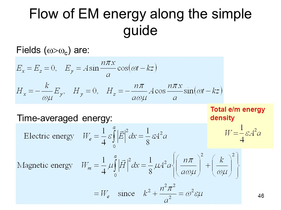 Flow of EM energy along the simple guide
