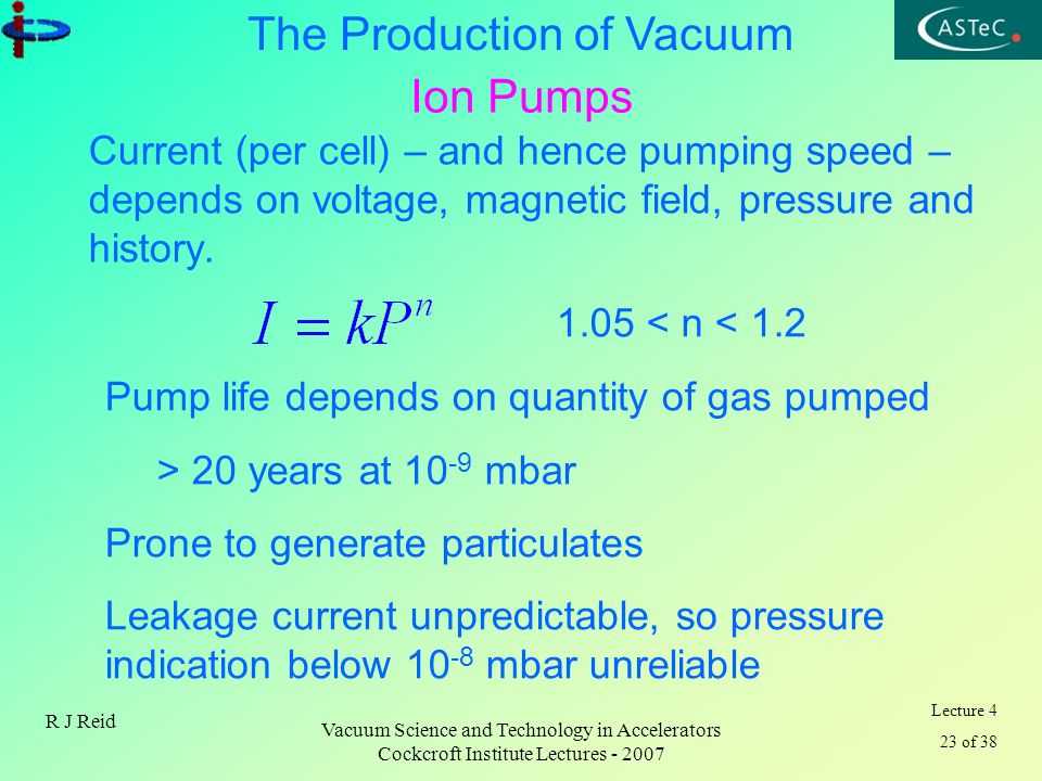 Ion Pumps Current (per cell) – and hence pumping speed – depends on voltage, magnetic field, pressure and history.