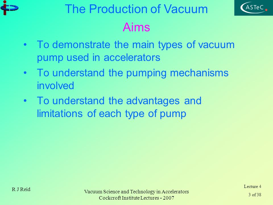Aims To demonstrate the main types of vacuum pump used in accelerators
