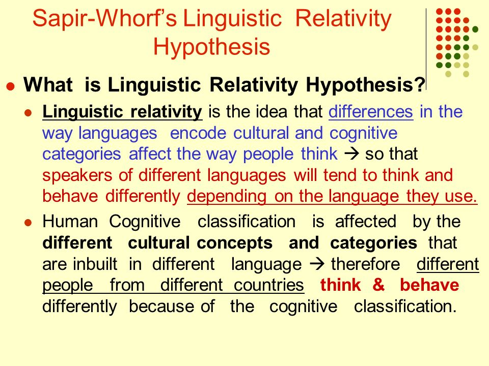sapir and whorf thesis The sapir-whorf hypothesis - renate giesbrecht - term paper - english - pedagogy, didactics, literature studies - publish your bachelor's or master's thesis, dissertation, term paper or essay.