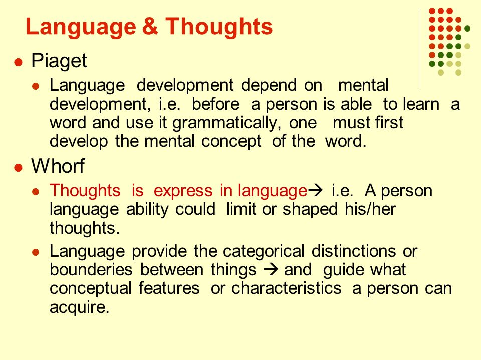 what comes first language or thought It seems that with most people around today language comes first i'd like to say thought comes after but it is incresingly difficult to find people capable of.
