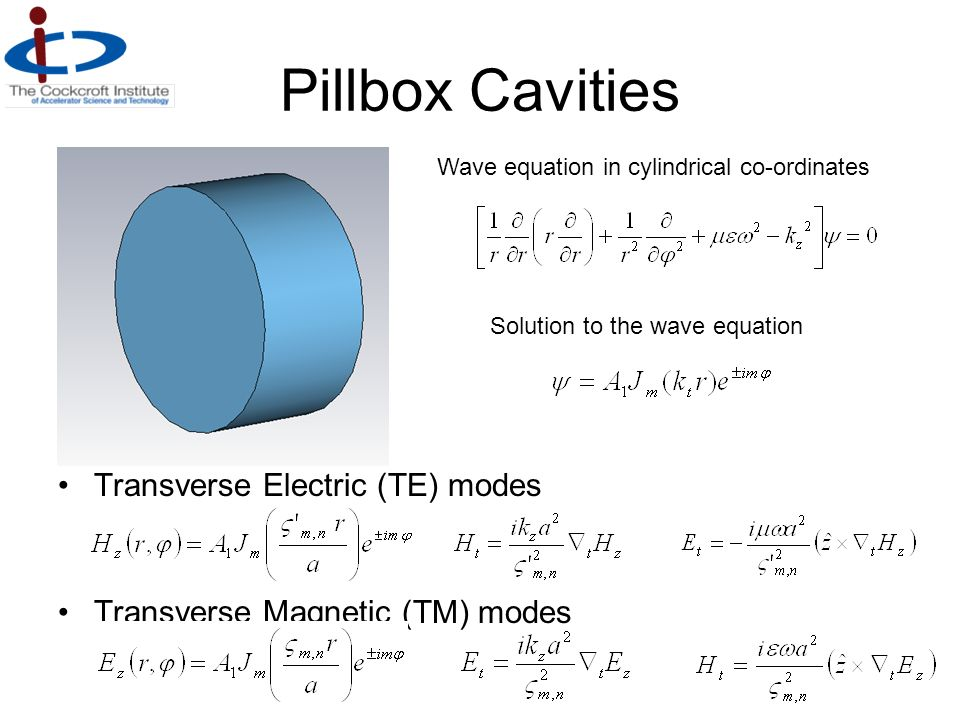 Pillbox Cavities Transverse Electric (TE) modes