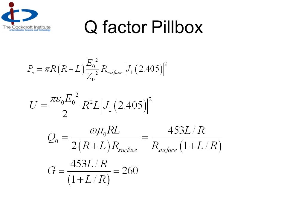Q factor Pillbox