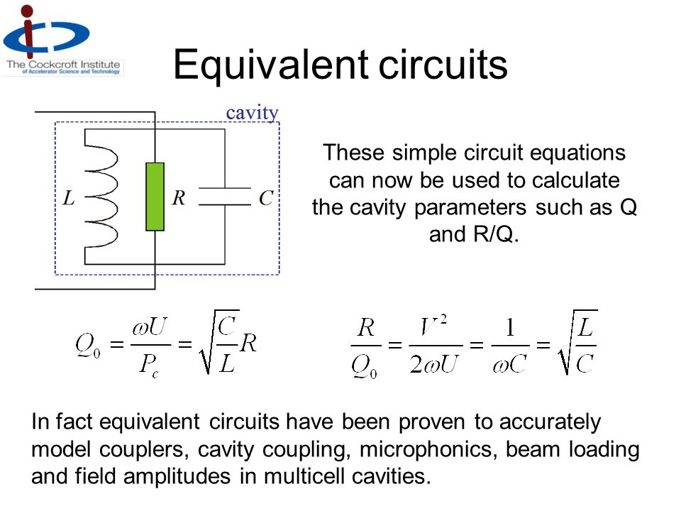 Equivalent circuits These simple circuit equations can now be used to calculate the cavity parameters such as Q and R/Q.