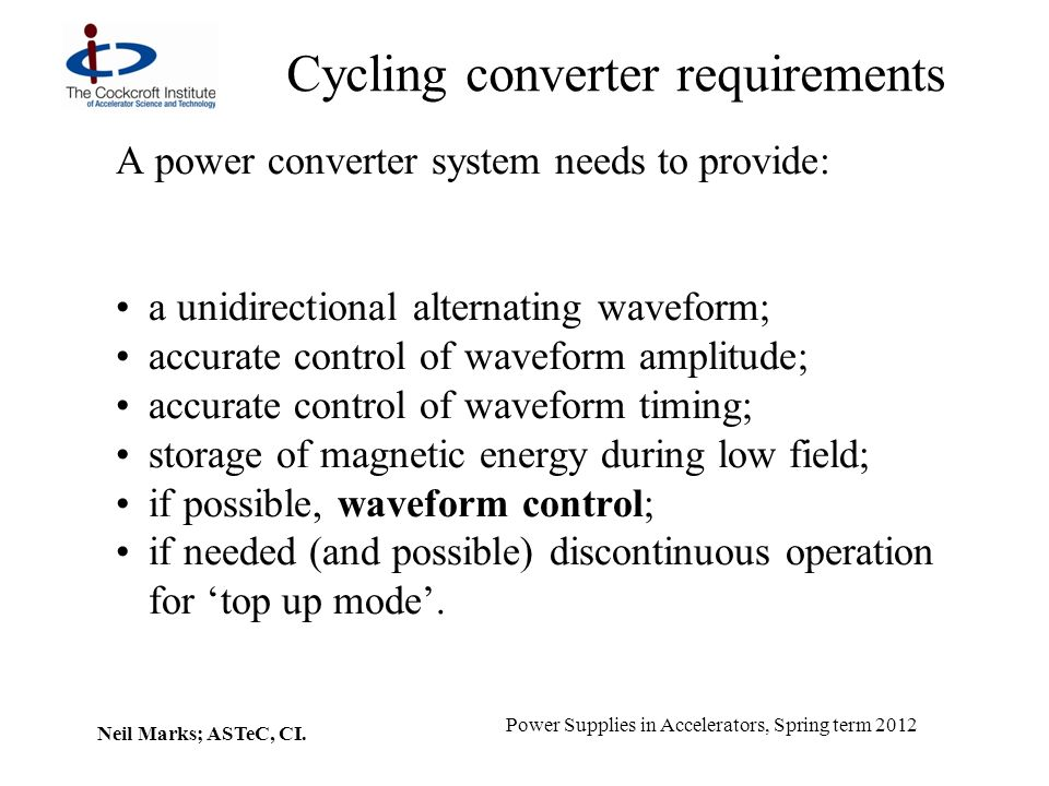 Cycling converter requirements