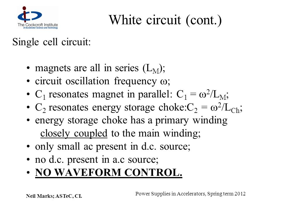 White circuit (cont.) Single cell circuit: