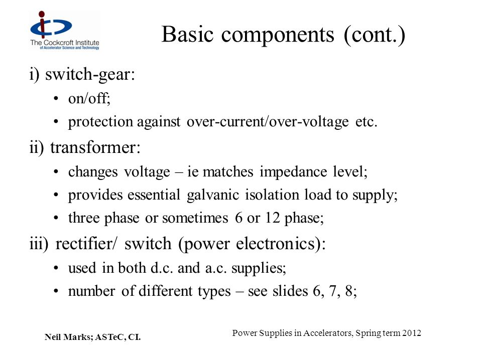 Basic components (cont.)