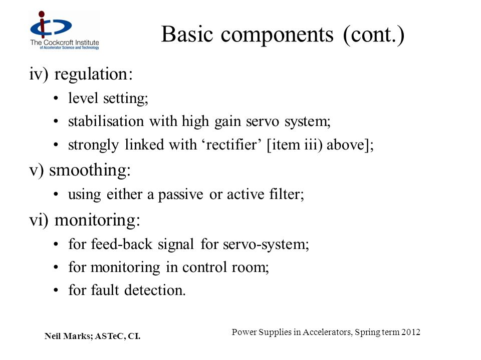Basic components (cont.)