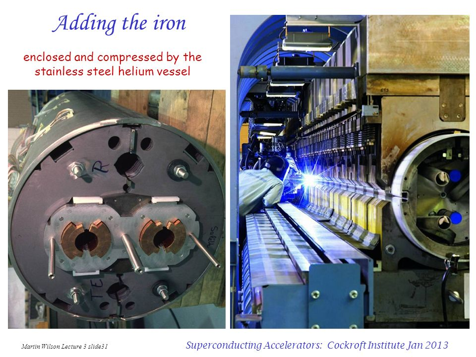 Adding the iron enclosed and compressed by the stainless steel helium vessel. Martin Wilson Lecture 3 slide31.