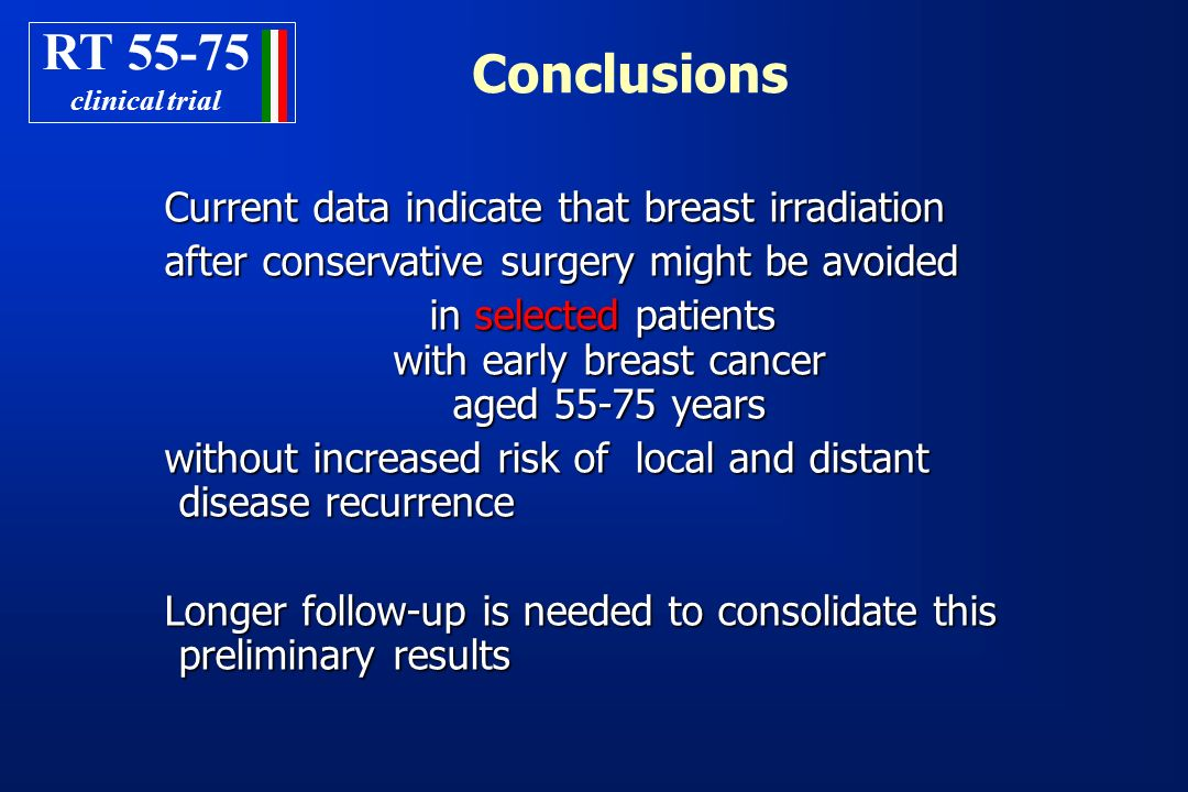 in selected patients with early breast cancer aged 55-75 years