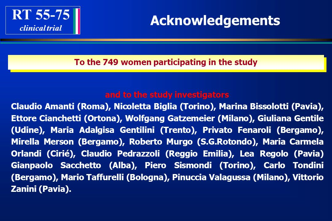 RT 55-75 Acknowledgements clinical trial