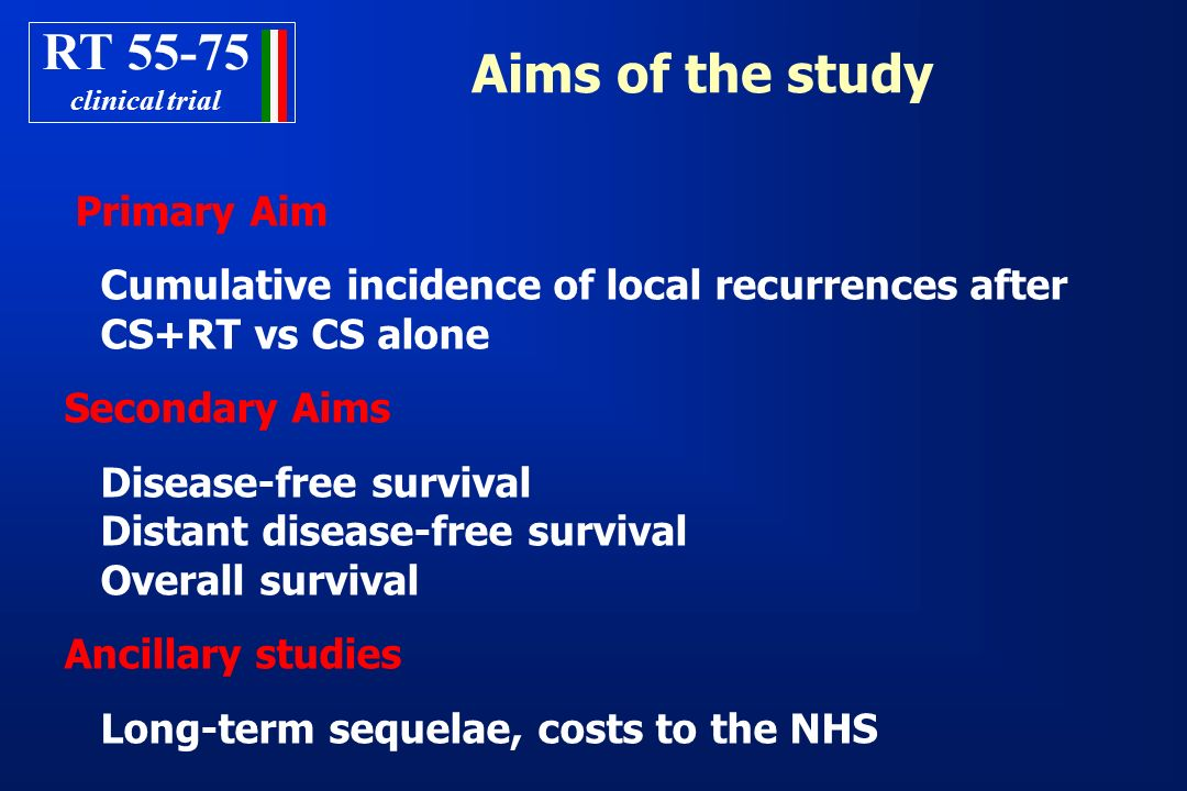 RT clinical trial. Aims of the study. Primary Aim. Cumulative incidence of local recurrences after CS+RT vs CS alone.