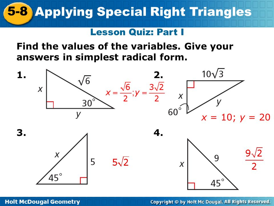 Applying Special Right Triangles ppt download – Holt Mcdougal Geometry Worksheet Answers