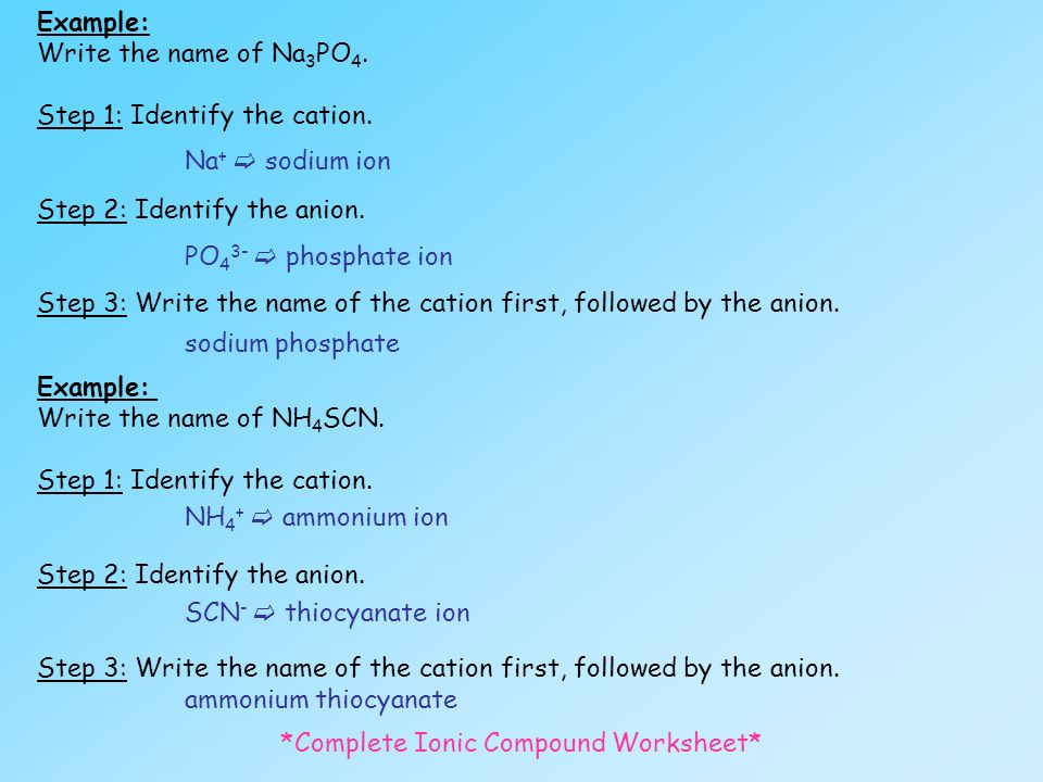 UNIT 1 Chemical Reactions Part I Text p ppt download – Writing Ionic Compounds Worksheet