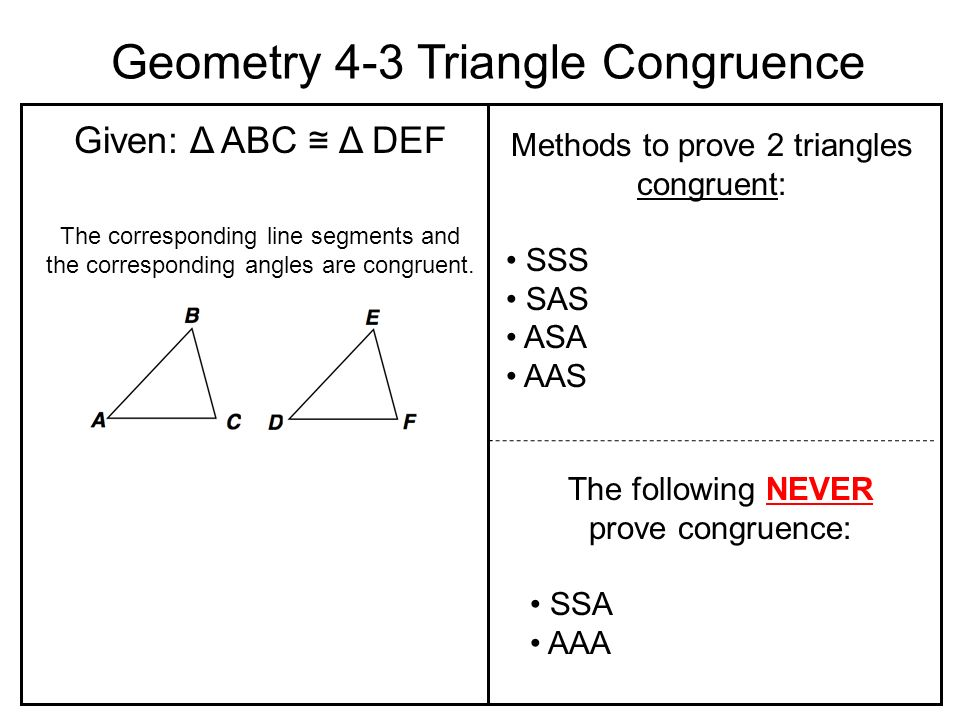 Geometry Congruent Segments Geometry 4-3 Triangle ...