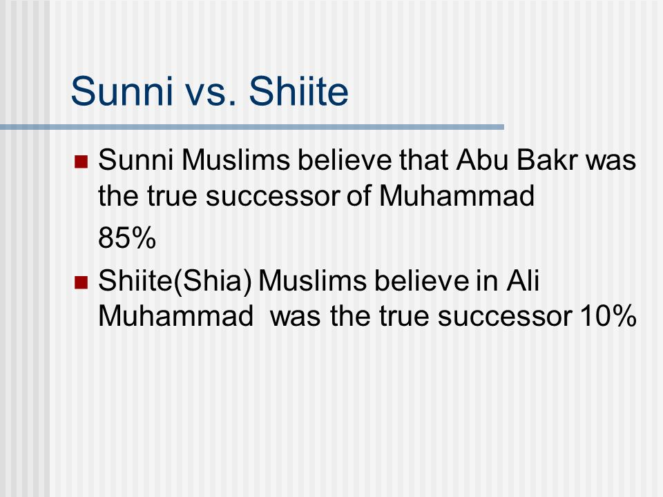 Sunni vs. Shiite Sunni Muslims believe that Abu Bakr was the true successor of Muhammad. 85%