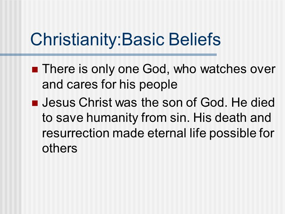 Christianity:Basic Beliefs