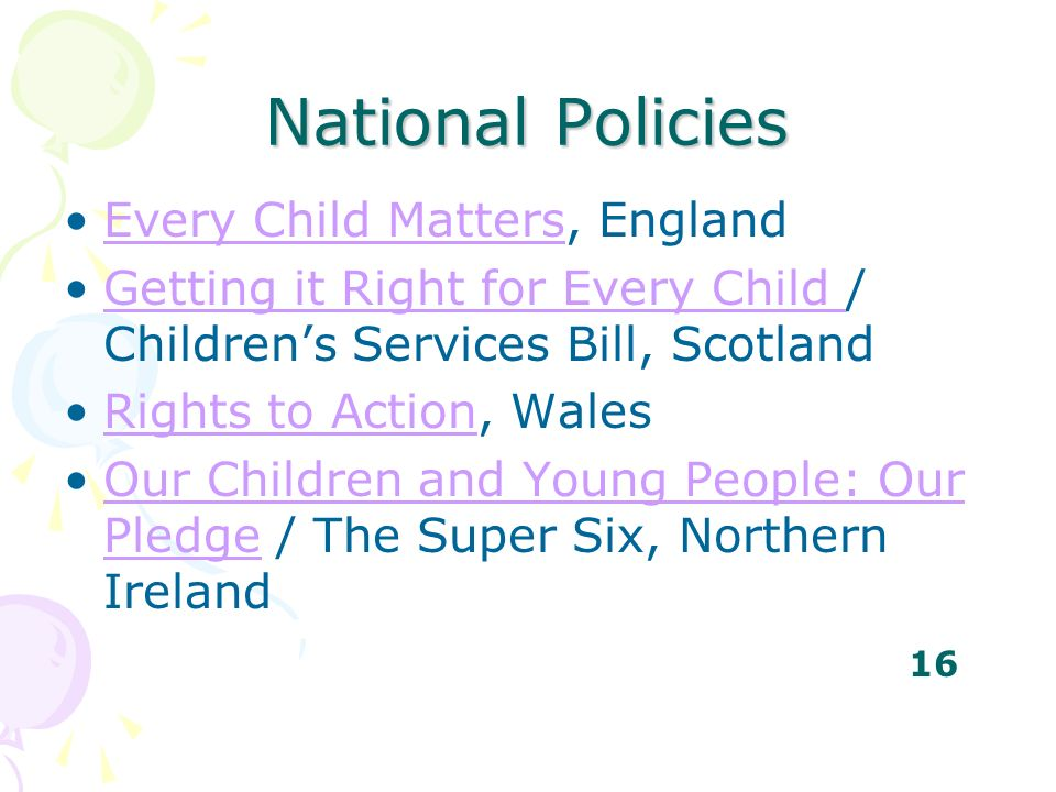 National Policies Every Child Matters, England