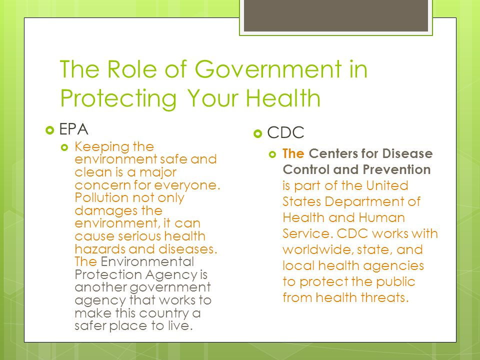 government policy and disease control The centers are the focus of the united states government efforts to develop and implement prevention and control strategies for diseases, including those of microbiological origin the cdc is home to 11 national centers that address various aspects of health care and disease prevention.
