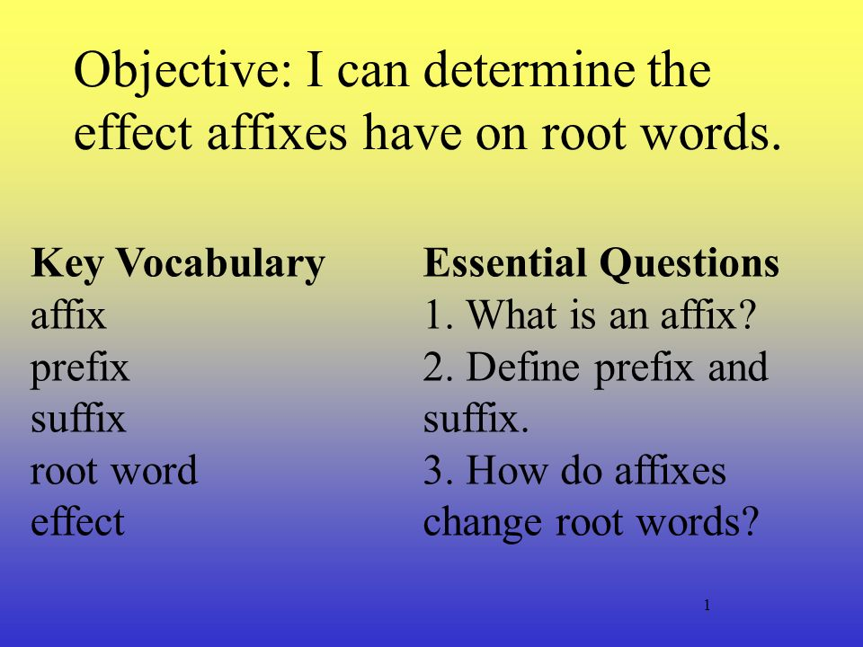 Objective: I can determine the effect affixes have on root ...