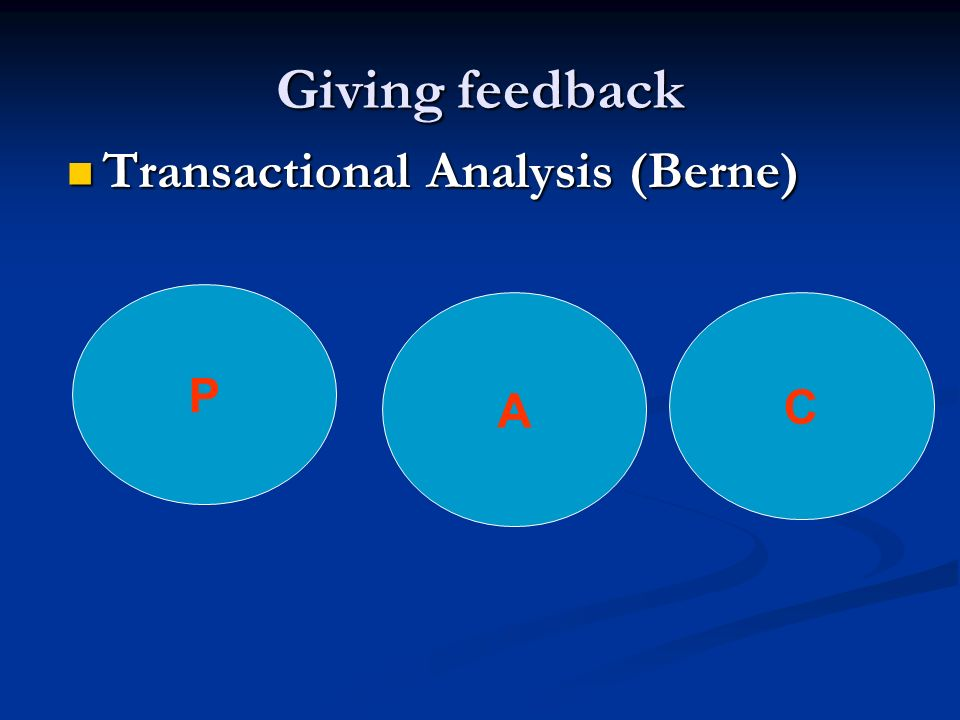 Giving feedback Transactional Analysis (Berne) P A C