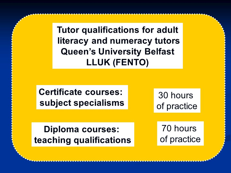 Tutor qualifications for adult literacy and numeracy tutors