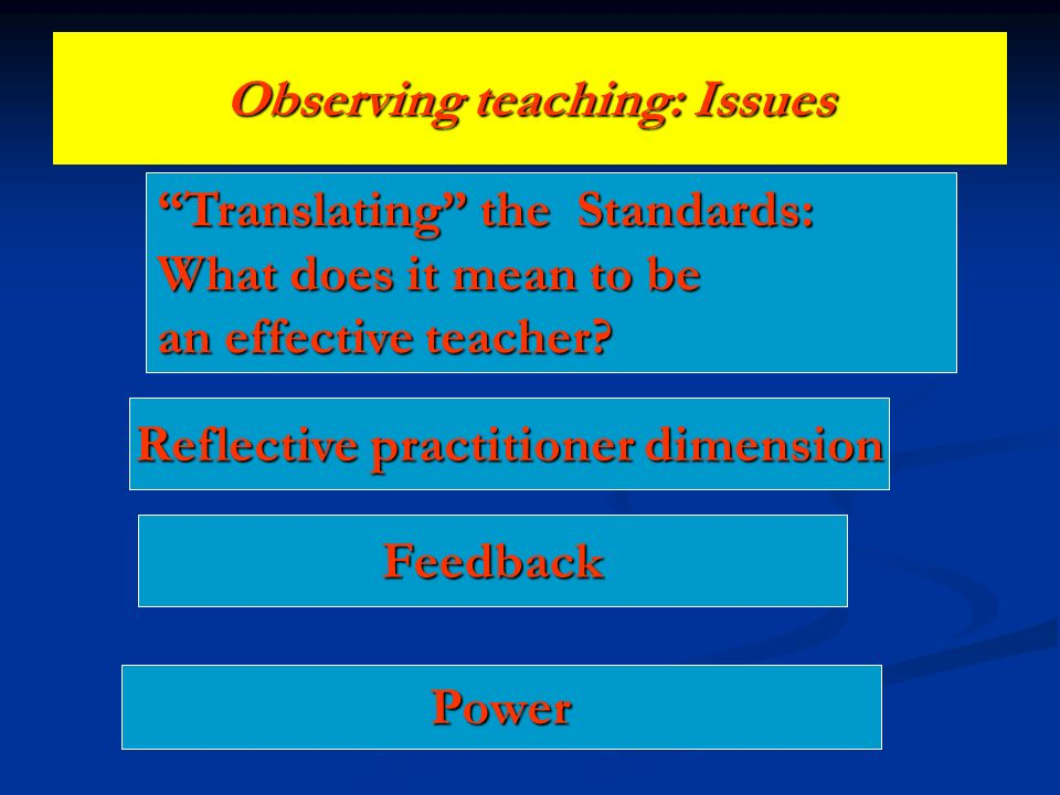 Observing teaching: Issues